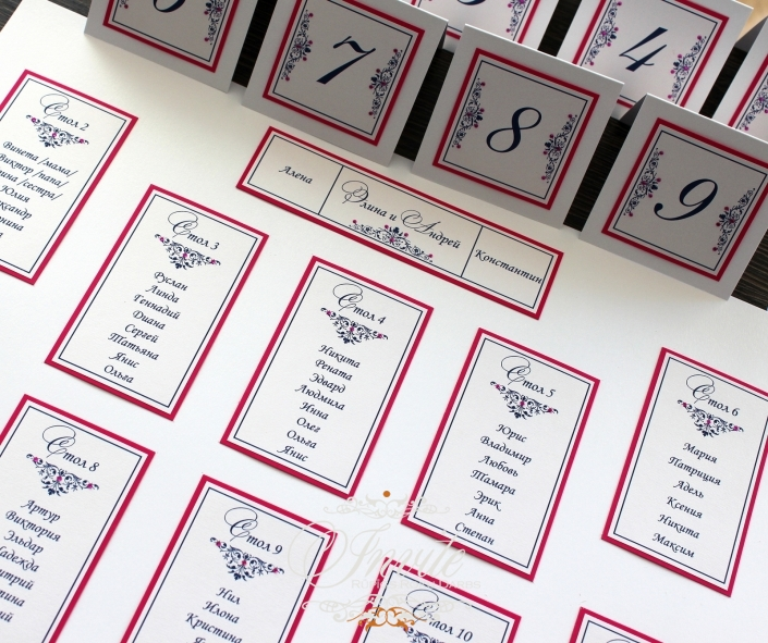 GALDA KARTES butterfly seating plan and table numbers fuchsia and dark blue