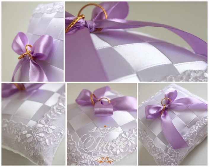 GREDZENU SPILVENTIŅI ribbon boxes 180x180 white and lavanda accents